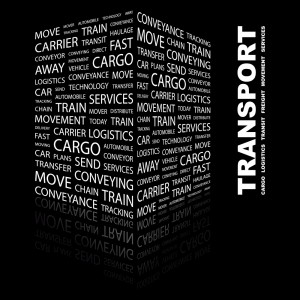 TRANSPORT. Word collage on black background. Illustration with d